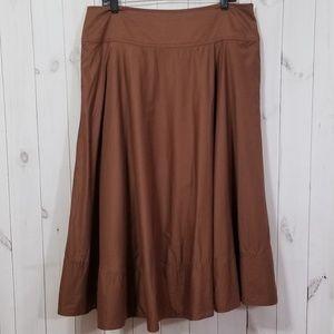 Lauren Ralph Lauren Brown Cotton Midi Swing Skirt